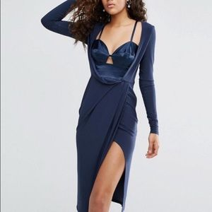 ASOS satin bra insert wrap drape midi dress